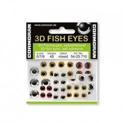 Ochi de peste 3d autoadeziv silver diverse marimi/48buc