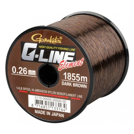 Fir Monofilament Gamakatsu G-Line Element, Rezistenta 5.1 kg, 1855 m, 0.26 mm, Maro