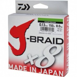 Fir Textil Daiwa J-Braid X8 Chartreuse, 0.28Mm/26,5Kg/150M