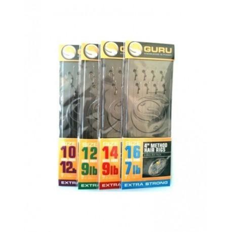Carlige legate (montura) Guru Method Hair Rig, Nr.16, Monofilament, 8 Buc/Plic