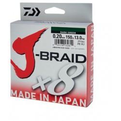 Fir Textil Daiwa J-Braid X8, Rezistenta 9 kg, 300 m, 0.16 mm, Verde