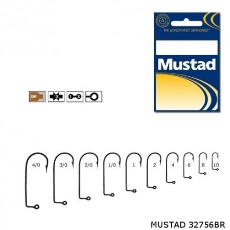 Carlige Mustad M32756 Bronz pentru Jig/Twister, Nr.1 - 100 Buc/Plic