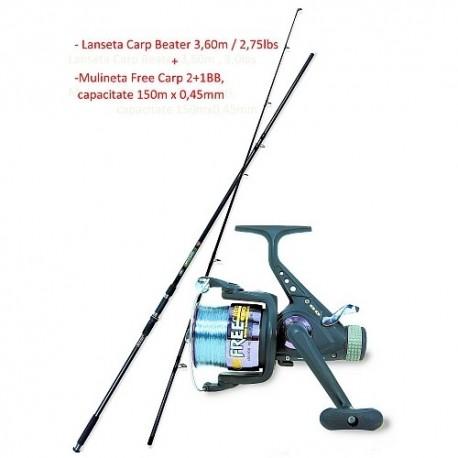 Lanseta Carp Beater 3,60M/3Lbs + Mulineta Free Carp