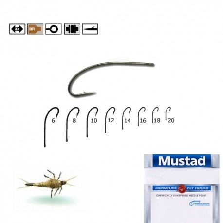 Carlige musca Mustad Signature C53S, Bronz, Nr.16, Tip Ochet, 10 Buc/Plic