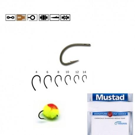 Carlige Forjate Egg Caddis Pentru Musca Mustad C67S, Nr.14, Tip Ochet, 10 Buc/Plic