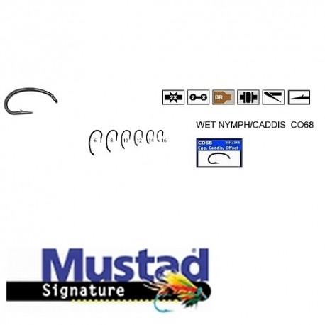 Carlige Mustad Bronz CO68, Forjat, Curbat, Pentru Musca, Nr.16, Tip Ochet, 25 Buc/Plic