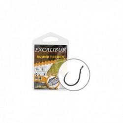 Carlige Excalibur Round Feeder Barbless Black Nickel, Nr. 10, Tip Ochet, 8 Buc/Plic