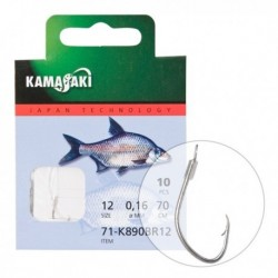 Carlige legate (montura) Kamasaki K890Br, Nickel, Nr.10, Monofilament, 10 Buc/Plic
