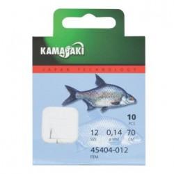 Carlige legate (montura) Kamasaki Sode, Nickel, Nr.12, Monofilament, 10 Buc/Plic