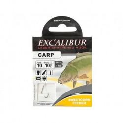 Carlige legate (montura) Excalibur Sweetcorn Feeder, Nr.14, Monofilament, 10 Buc/Plic