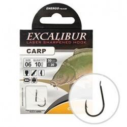 Carlige legate (montura) Excalibur Carp Classic, Black Nickel, Nr.8, Monofilament, 10 Buc/Plic