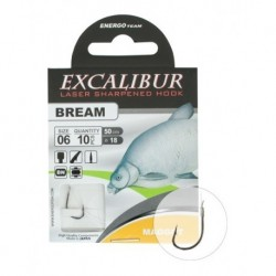 Carlige legate (montura) Excalibur Bream Maggot Black Nickel, Nr.8, Monofilament, 10 Buc/Plic