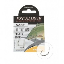 Carlige legate (montura) Excalibur D Killer Black Nickel, Nr.8, Monofilament, 10 Buc/Plic