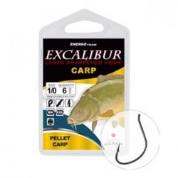 Carlige Excalibur Pellet Carp Black Nickel, Nr. 1/0, Tip Ochet, 6 Buc/Plic