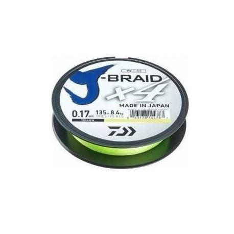 Fir Textil Daiwa J-Braid X4, Rezistenta 3.8 kg, 135 m, 0.10 mm, Galben
