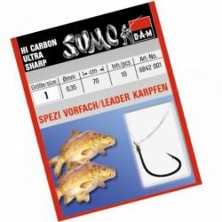 Carlige legate (montura) DAM Sumo Spezi Carp, Nr.4, Monofilament, 10 Buc/Plic