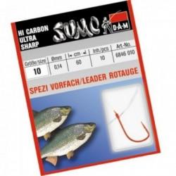 Carlige legate (montura) DAM Sumo Spezi Roach Red, Nr.18, Monofilament, 10 Buc/Plic