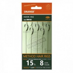 Rig Feeder Orange Series 1 Nr.8 15Lb Method Hair Rigs, 5buc/plic