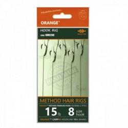Carlige legate (montura) Feeder Orange Series 2 Method Hair Rigs, Nr.8, Textil, 5 Buc/Plic